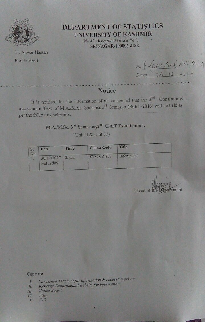 Statistics university of kashmir date sheet for backlog examination of mamsc 1st semester dated 28 12 2017 malvernweather Images